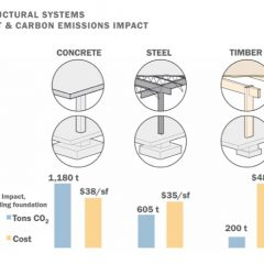 carbon output, steel, concrete, timber